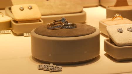 гранат : Expensive elite jewelry on the counter of jewelry store. Various diamonds, sapphires, white gold in earrings, bracelets, rings, necklaces with price tags Стоковые видеозаписи