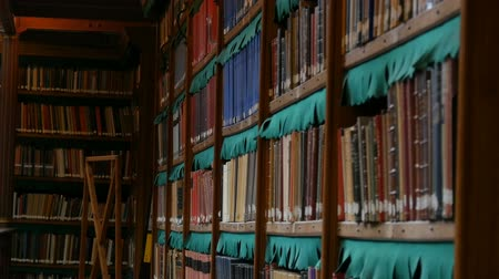 obra prima : Beautiful vintage bookshelves in the old library in the Rijksmuseum, Amsterdam Stock Footage