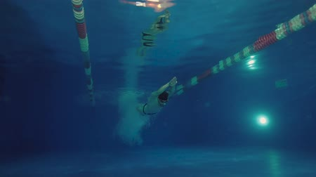 versenyképes : Underwater view to the beautiful professional swimmer diving into the pool and swimming crowl stroke.