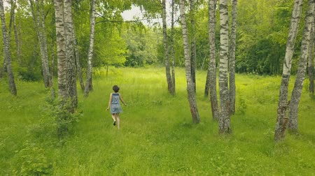 Arial view smiling young woman in forest. Follow me into forest Stock mozgókép