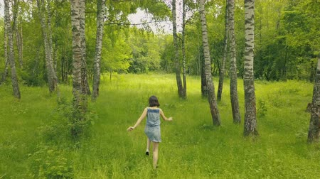 Drone view attractive young woman walking in the woods. Follow me into forest Stock mozgókép