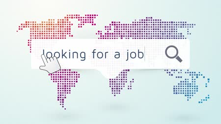 foglalkozások : job search worldwide with a map on the background endless loop