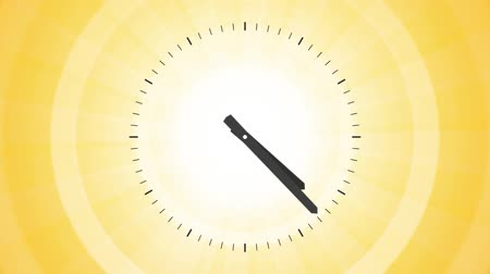 loga : clock on vibrant yellow background endless loop rotating