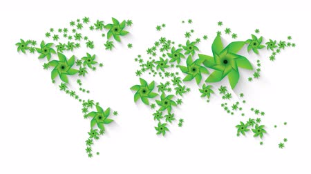 clipe de papel : world map animation composed of green pinwheel renewable resources concept