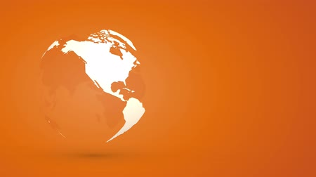 sparse : globe planet earth rotating on orange background Stock Footage