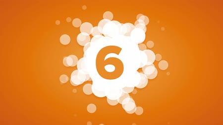 countdown leader : Abstract countdown with bubbles on orange background Stock Footage