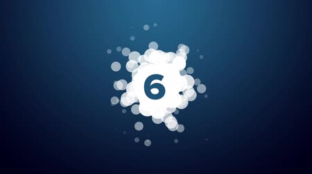 countdown leader : Abstract countdown with bubbles on dark blue background Stock Footage