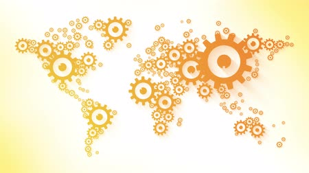 cogwheels : world map composed of orange gears business loop animation