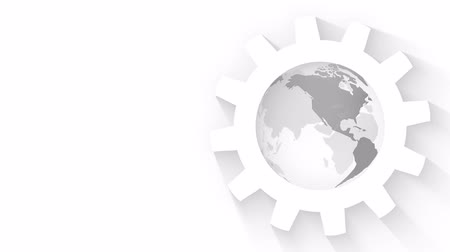 cogwheels : White Gears with World Map Globe Loop Animation