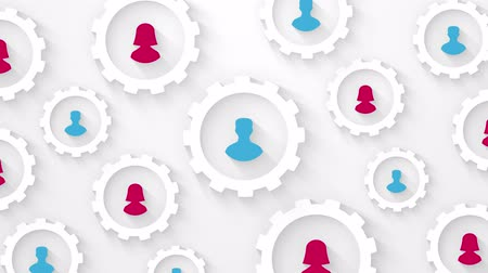 cogwheels : social network concept with man and woman silhouette in gears loop animation