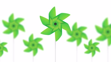ventilátor : abstract pinwheel green toys background loop animation