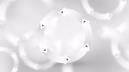 akış şeması : elegant wheel of white arrows with colorful loop animation