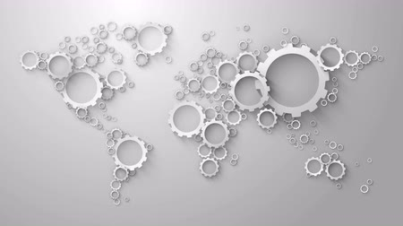 cogwheels : world map of white cog wheels on gray background loop animation