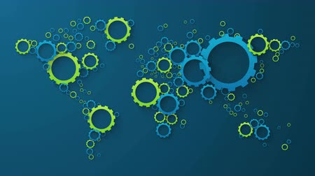 винтиками : world map of blue and green cog wheels on dark background Стоковые видеозаписи