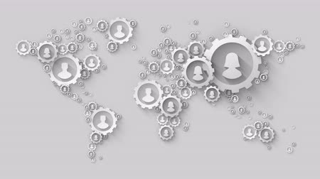 logotyp : silver gears making globe world map global social technology concept Wideo