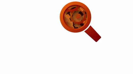 magnifier : orange magnifying glass and rotating gears abstract technology concept loop animation