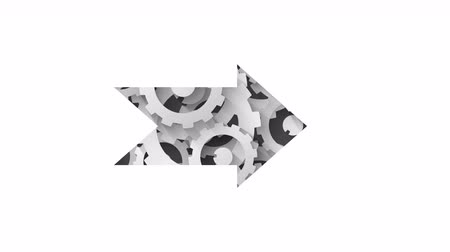 navigasyon : white arrow on abstract industrial background with white cogs Stok Video