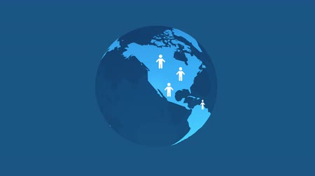 birleşik : blue earth with people icons abstract social network concept