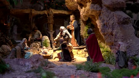 jesus born : Cuenca, Ecuador - January 3, 2019 - Largest animated nativity scene in South America. Magi arrive to praise Jesus.