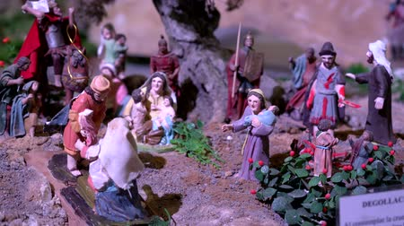 jesus born : Cuenca, Ecuador - January 3, 2019 - Largest animated nativity scene in South America. Stock Footage