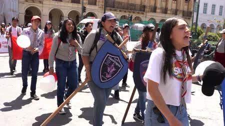harcerz : Cuenca, Ecuador - December 1, 2018 - Scout Parade With Chanting - with sound