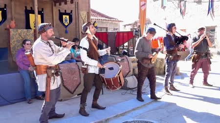 fife : Penedono, Portugal - 20170701 - Medieval Fair  -  Drum and Pipe Corp Starts w - Sound Stock Footage