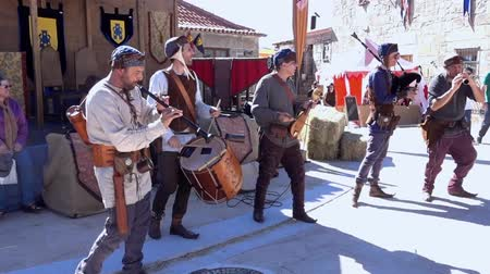 fife : Penedono, Portugal - 20170701 - Medieval Fair  -  Drum and Pipe Corp Fast Beat w - Sound Stock Footage