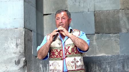 traditional instruments : Yerevan, Armenia  -  20170614  -  Man Plays Traditional Duduk Wind Instrument