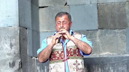 traditional instruments : Yerevan, Armenia  -  20170614  -  Man Plays Traditional Duduk Wind Instrument Haunting Melody