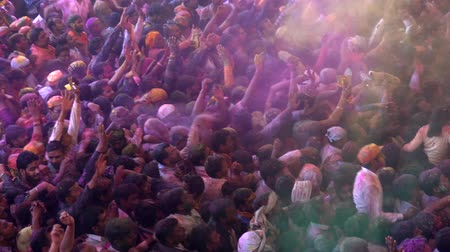 упакованный : Barsana, India - 201802242 -  Holi Festival  -  Chaos  -  Packed Crowd Throws Paint As Man Jumps Стоковые видеозаписи