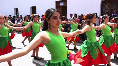 danseres : Vrouwen in groene en rode jurken dansen in Cuenca Independence Day Parade 2016 Stockvideo