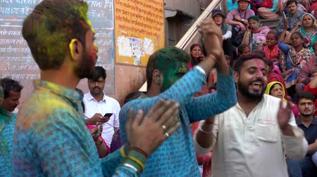 color surge : Barsana, India - 201802242 -  Holi Festival  -  Dancing  -  Painted Men Chant Rhdi w - Sound