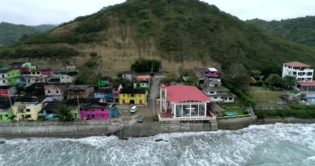 barışçı : La Entrada, Ecuador - 20180914 - Drone Aerial  -  Distant Pan of Village Center Showing Newly Painted Homes and High Tide