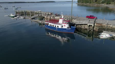 docking : Chebeague Island, Maine  -  20181006  -  Aerial Drone  -  Rise Up Beside Ferry At Dock