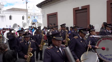 traditional instruments : Latacunga, Ecuador  -  20180925  -  Military Marching Band Plays in Mama Negra Parade