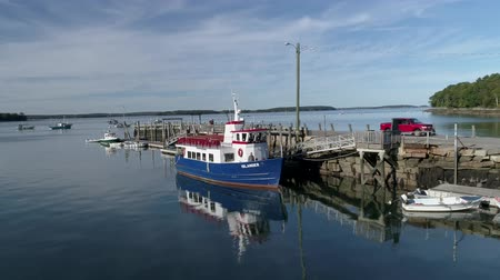 docking : Chebeague Island, Maine  -  20181006  -  Aerial Drone  -  Fly Around Towards Stern of Ferry At Dock