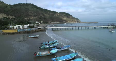 lano : Puerto Lopez, Ecuador - 20180913 - Drone Aerial  -  Fly Along Beach Towards Pier