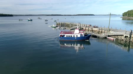 docked : Chebeague Island, Maine  -  20181006  -  Aerial Drone  -  Ferry Departs Dock