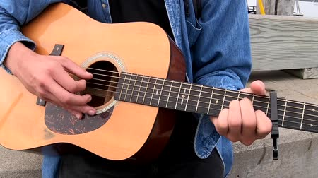 strings : Chebeague Island, Maine  -  20181007  -  Closeup of Hands Playing Acoustic Guitar Stock Footage