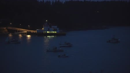 docking : Chebeague Island, Maine  -  20181005  -  Aerial Drone Timelapse 8X  -  Chebeague Island Ferry Arrives At Dock At Night