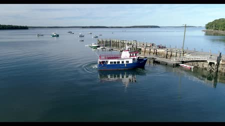 docking : Chebeague Island, Maine  -  20181006  -  Time Lapse Aerial Drone  -  Ferry Departs Dock