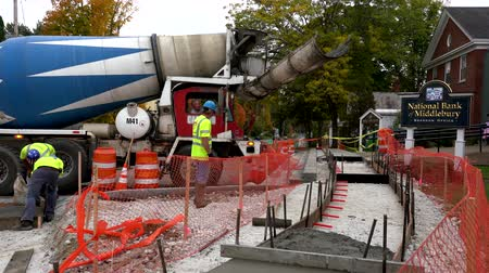 paving : Middlebury, Vermont  -  20181010  -  Cement Truck Prepares To Unload For New Sidewalk Construction