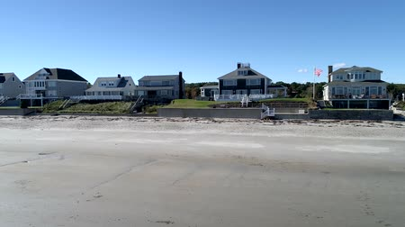 haven : Exeter, New Hampshire  -  20181016  -  Aerial Drone  -  Pan Along Beach Looking At Beachfront Mansions 4K Stock Footage