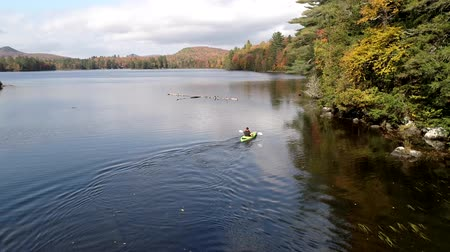 kürek çekme : Chittenden, Vermont  -  20181009  -  Aerial Drone  -  Man Paddles in Kayak in Lake in Fall in Vermont