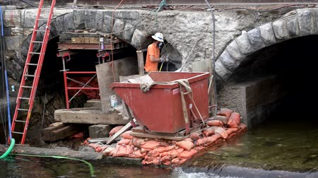 public worker : Middlebury, Vermont  -  20181010  -  Construction Crew Uses Jackhammer To Carve Away Old Bridge