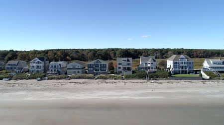 haven : Exeter, New Hampshire  -  20181016  -  Aerial Drone  -  Pan High Along Beach Looking At Beachfront Mansions 4K