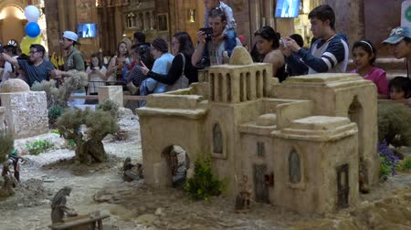 jesus born : People line up to see Largest Nativity Scene in South America has 1400 characters including 400 animated over 3000 square feet Stock Footage