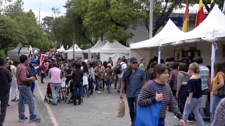 adil : Cuenca, Ecuador - 20181003 - Cuenca Independence Day Festival TimeLapse  -  People Walk Past Busy Vendor Booths