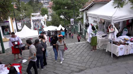 adil : Cuenca, Ecuador - 20181003 - Cuenca Independence Day Festival TimeLapse  -  Looking Down as People Walk the Long Outdoor Stairs Between Levels of the City