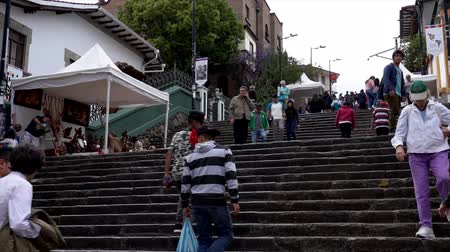 adil : Cuenca, Ecuador - 20181003 - Cuenca Independence Day Festival TimeLapse  -  Looking Up as People Walk the Long Outdoor Stairs Between Levels of the City